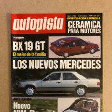 Coches: AUTOPISTA N° 1324 (1984). CITROËN BX GT, MERCEDES, VW PASSAT,.... Lote 160035048
