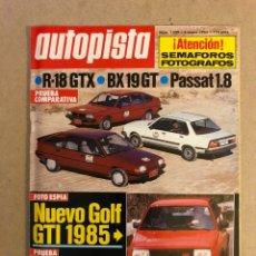 Carros: AUTOPISTA N° 1329 (1985). VW GOLF GTI, SUBARU LIBERO, R-18 GTX VS BX 19 GT VS PASSAT 1.8,... Lote 160035980