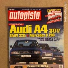 Coches: AUTOPISTA N° 1958 (1997). AUDI A4, BMW 328I, MERCEDES C 280, PASSAT TDI, HONDA PRELUDE,... Lote 160193926