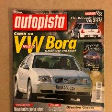 Coches: AUTOPISTA N° 2045 (1998). VW BORA, RENAULT CLÍO SPORT V6 24V, ALFA 166 3.0 V6, MAZDA 323, LAND ROVER. Lote 160194232