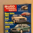 Coches: AUTO MOTOR UND SPORT (1983). ALEMANA. AUDI 100/200, BMW 325I, VW GOLF/JETTA,.... Lote 160896249
