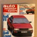 Coches: AUTO MOTOR UND SPORT (1985). ALEMANA. AUDI V8, VW PASSAT, AUDI COUPÉ, BMW 520I,.... Lote 160896276