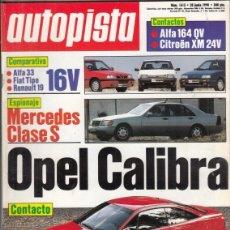 Coches: REVISTA AUTOPISTA Nº 1615 AÑO 1990. COMP: ALFA 33 16V BOXER, FIAT TIPO I.E 16V Y RENAULT 19 16V.. Lote 163984558