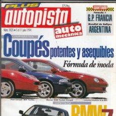 Coches: REVISTA AUTOPISTA Nº 1825 AÑO 1994. COMP: TOYOTA CELICA GT, FIAT COUPE 16V TURBO, Y ROVER 220 TURBO.. Lote 211778132