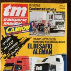 Coches: REVISTA TRANSPORTE MUNDIAL NÚMERO 73 DE 1993 CAMION PEGASO TRONER MAN MERCEDES. Lote 182263011