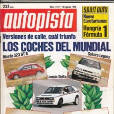 Coches: REVISTA AUTOPISTA Nº 1727 AÑO 1992. COMP: TOYOTA CELICA LIMITED TURBO 4WD. FORD SIERRA COSWORTH.. Lote 167439180