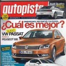 Coches: REVISTA AUTOPISTA Nº 2673 AÑO 2010. PRUEBA: VW GOLF BLUEMOTION. . Lote 167870524