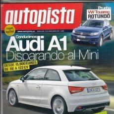 Coches: REVISTA AUTOPISTA Nº 2658 AÑO 2010. P: VW TOUAREG 3.0 V6 TDI BLUEMOTION.C: FIAT SEDICI 2.0 MULTIJET.. Lote 167993356