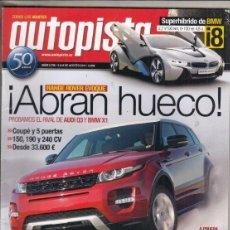 Coches: REVISTA AUTOPISTA Nº 2716 AÑO 2011. PRUEBA: VW GOLF CABRIO 1.4 TSI. VW TIGUAN 2.0 TDI . . Lote 168501052
