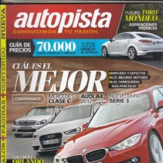 Coches: REVISTA AUTOPISTA Nº 2733 AÑO 2011. PRU: FORD MUSTANG SHELBY GT 500. COMP: CHEVROLET ORLANDO 20 VCDI. Lote 168507824
