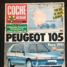 Coches: COCHE ACTUAL Nº 54 - SKODA FAVORIT OPEL VECTRA 1.6 GL PEUGEOT 405 GL PEUGEOT 105 POSTER PROST. Lote 168663352