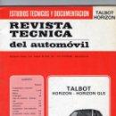Coches: REVISTA TÉCNICA DEL AUTOMÓVIL - TALBOT HORIZON - ESTUDIOS TÉCNICOS Y DOCUMENTACIÓN - AÑO 1980.. Lote 168831324