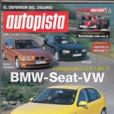 Coches: REVISTA AUTOPISTA Nº 2241 AÑO 2002. COMP: SEAT LEON SPORT FR 1.9 TDI, VW GOLF 1.9 TDI GTI Y . Lote 170063052
