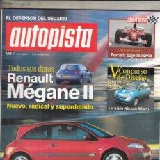 Coches: REVISTA AUTOPISTA Nº 2249 AÑO 2002. PRU:HYUNDAI COUPE 1.6 16 FX. AUDI CABRIO V6 2.4.FORD MONDEO TDI.. Lote 170063308
