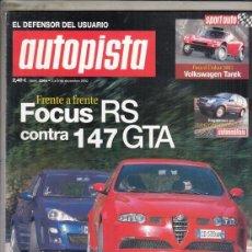 Coches: REVISTA AUTOPISTA Nº 2264 AÑO 2002. PRU: FORD FOCUS RS. MITSUBISHI SPACE 1.9 DI-D PLUS. CO: BMW 745. Lote 170065156