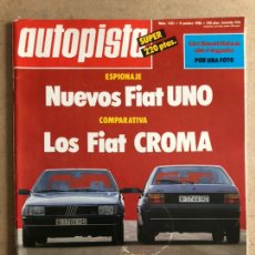 Coches: AUTOPISTA N° 1421 (1986). FIAT UNO Y CROMA, FORD ORION 1.6, RALLYES, JARAMA F3000. Lote 170365970