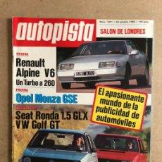 Coches: AUTOPISTA N° 1371 (OCTUBRE 1985). RENAULT ALPINE V6, OPEL MONZA GSE, VW GOLF GT, SEAT RONDA,.... Lote 170366917