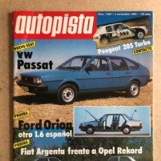 Carros: AUTOPISTA N° 1268 (NOVIEMBRE 1983). PEUGEOT 205 TURBO, FORD ORIÓN 1.6, FIAT ARGENTA VS OPEL REKORD. Lote 170371348