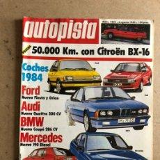 Carros: AUTOPISTA N° 1255 (AGOSTO 1983). CITROËN BX-16, FORD FIESTA ORIÓN, AUDI QUATTRO 300 CV. Lote 170376624