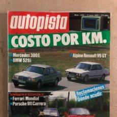 Coches: AUTOPISTA N° 1352 (1985). FERRARI MONDIAL, PORSCHE CARRERA, RENAULT ALPINE V6 GT. Lote 170381084