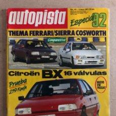 Coches: AUTOPISTA N° 1492 (1988). CITROËN BX 16V, THEMA FERRARI VS SIERRA COSWORTH, VW PASSAT. Lote 170382988