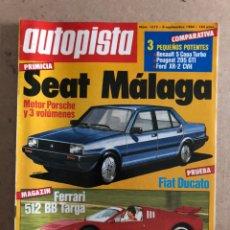 Coches: AUTOPISTA N° 1312 (1984). SEAT MÁLAGA (MOTOR PORSCHE), FERRARI 512 BB TARGA, FIAT DUCATO, G.P.. Lote 170384790