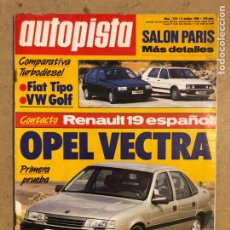 Coches: AUTOPISTA N° 1525 (OCTUBRE 1988). FIAT TIPO, VW GOLF, OPEL VECTRA, RENAULT 19. Lote 170388261