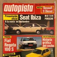 Coches: AUTOPISTA N° 1303 (1984). SEAT IBIZA MOTOR PORSCHE, FIAT REGATA 100 S, RENAULT 5, RENAULT 11. Lote 170389956