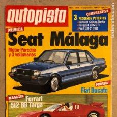 Coches: AUTOPISTA N° 1312 (1984). SEAT MÁLAGA (MOTOR PORSCHE), FERRARI 512 BB TARGA, FIAT DUCATO, G.P.. Lote 170390062