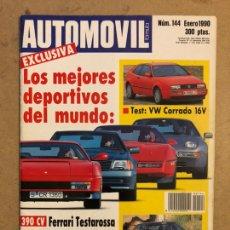 Coches: AUTOMÓVIL N° 144 (ENERO 1990). MEJORES DEPORTIVOS: FERRARI TESTAROSSA, MERCEDES 500 SL. Lote 170460406