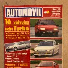 Coches: AUTOMÓVIL N° 125 (JUNIO 1988). BX GTI 16V VS R 21 TURBO VS PEUGEOT 405 MI 16, TOYOTA LAND CRUISER. Lote 170460508