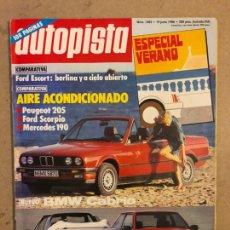 Coches: AUTOPISTA N° 1405 (1986). ESPECUAL VERANO, FORD ESCORT, PEUGEOT 205, FORD SCORPIO, MERCEDES 190. Lote 170460786