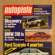 Coches: AUTOPISTA N° 1582 (NOVIEMBRE 1989). BMW 318 IS, FORS SCORPIO, LAND ROVER DISCOVERY,.... Lote 170464010