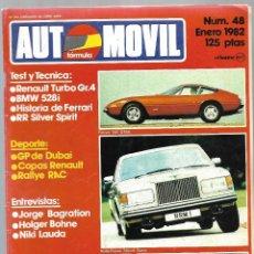 Coches: AUTOMOVIL FORMULA NUM. 48 DE ENERO 1982. RENAULT TURBO GR.4, HISTORIA FERRARI, BMW 528 . VER SUMARIO. Lote 171345083