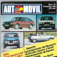 Coches: AUTOMOVIL FORMULA NUM. 47 DE DICIEMBRE 1981. SEAT FURA 127, FIESTA XR2, LANCIA STRATOS. VER SUMARIO. Lote 171345504