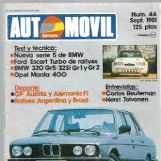 Coches: AUTOMOVIL FORMULA NUM. 44 DE SEPT. 1981. SERIE 5 DE BMW, ESCORT TURBO RALLYES. VER SUMARIO.. Lote 171345982