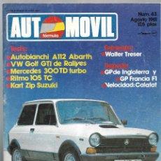Coches: AUTOMOVIL FORMULA NUM. 43 DE AGOSTO 1981. GOLF GTI RALLYES, RITMO 105 TC, KART ZIP. VER SUMARIO. Lote 171346634