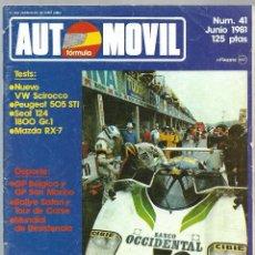 Coches: AUTOMOVIL FORMULA NUM. 41 DE JUNIO 1981. SCIROCCO, PEUGEOT 505, SEAT 124-1800, MAZDA. VER SUMARIO. Lote 171347623