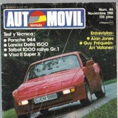 Coches: AUTOMOVIL FORMULA NUM. 46 DE NOVIEMBRE 1981. TALBOT 1000, VISA II SUPER X PORSCHE 944. VER SUMARIO. . Lote 171445430