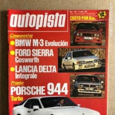 Coches: AUTOPISTA N° 1539 (ENERO 1989). BMW M3, FORD SIERRA COSWORTH, LANCIA DELTA INTEGRALE, PORSCHE 944 T,. Lote 172353174