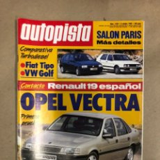 Coches: AUTOPISTA N° 1525 (OCTUBRE 1988). FIAT TIPO, VW GOLF, OPEL VECTRA, RENAULT 19, .... Lote 172375909