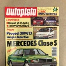 Coches: AUTOPISTA N° 1538 (ENERO 1989). R-25 V6 TURBO, SAAB 9000 AIRFLOW II, PEUGEOT 309 GTX, MERCEDES. Lote 172376269