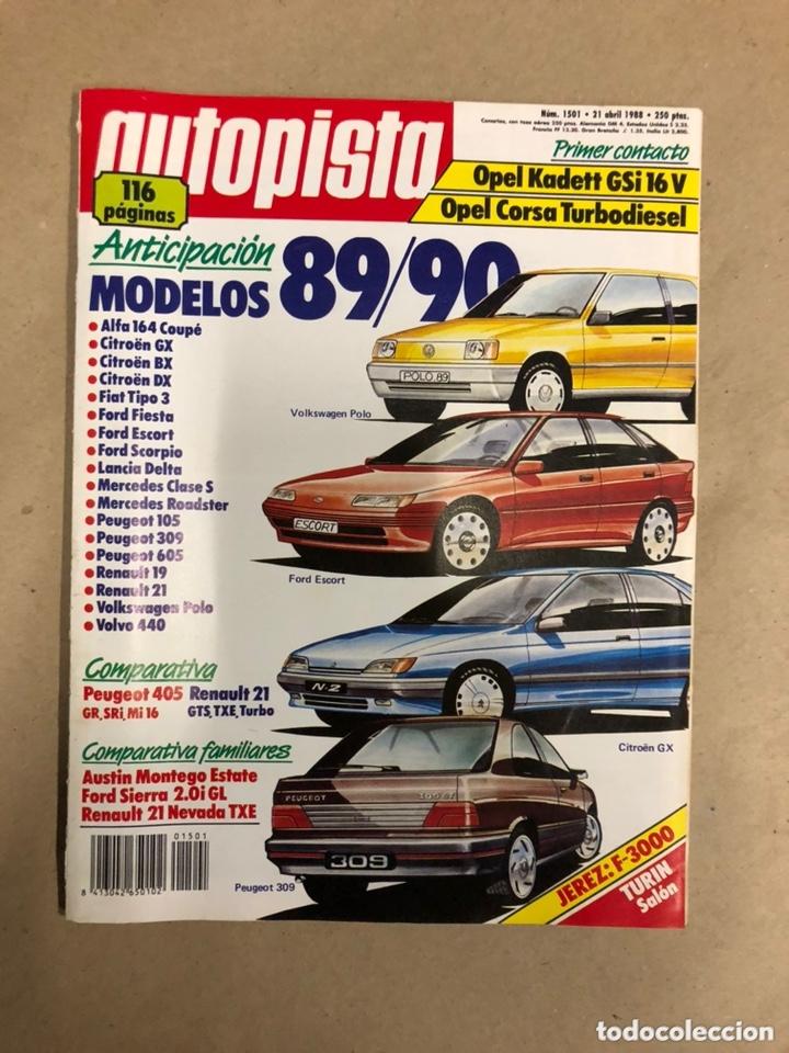 AUTOPISTA N° 1501 (ABRIL 1988). OPEL KADETT GSi 16v, CORSA TD, MODELOS 89/90, FORD SIERRA 2.0i GL,.. segunda mano