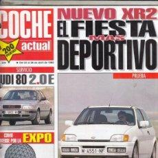 Coches: REVISTA COCHE ACTUAL Nº 209 AÑO 1992. PRUEBA: FORD FIESTA XR2I. AUDI 80 2.0 E. BMW R 100 R ROADSTER.. Lote 174336502