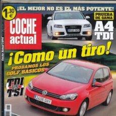 Coches: REVISTA COCHE ACTUAL Nº 1074 AÑO 2008. PRU: FIAT BRAVO 106 MULTIJET.VW GOLF 2.0 TDI.VW GOLF 1.4 TSI.. Lote 174639082