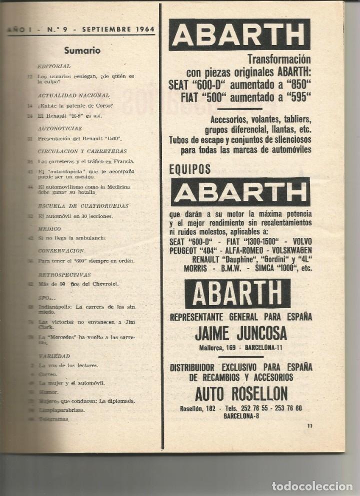 Coches: CUATRORUEDAS nº 9 Septiembre 1964 - Foto 2 - 174980308