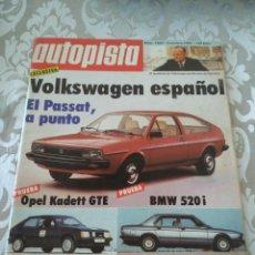 Coches: REVISTA AUTOPISTA NUM.1264 OCTUBRE 1983 VOLKSWAGEN PASSAT OPEL KADETT BMW 520. Lote 176000838