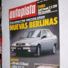 Coches: REVISTA AUTOPISTA Nº1682,10 OCTUBRE 1991 AUDI COUPE 2,3.VW CARAVELLE,CITROEN ZX,BMW325-525TD,CIVIC. Lote 176286558