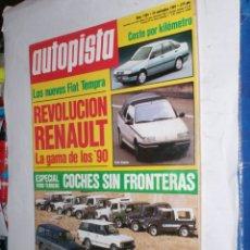 Coches: REVISTA AUTOPISTA Nº1584 23 NOVIEMBRE 1989,FIAT TEMPRA,REVOLUCION RENAULT,TODO TERRENO,JARAMA-JEREZ. Lote 176757105