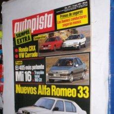 Coches: REVISTA AUTOPISTA Nº1592 18 ENERO 1990,HONDA CRX,VW CORRADO,405 MI16,ALFA ROMEO 33,MONTECARLO,DAKAR. Lote 176757778